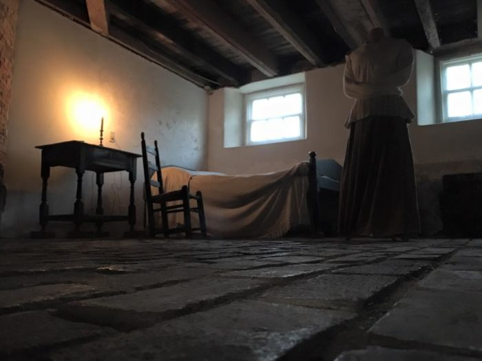 """As Sarah's condition worsened, she began to be dangerous to herself and others. She was moved down to the basement and locked in two rooms.A servant kept Sarah company, and cared for her, but she was so intent on harming herself that she had to be confined to a """"straight dress"""" - a contraption similar to a straight jacket."""