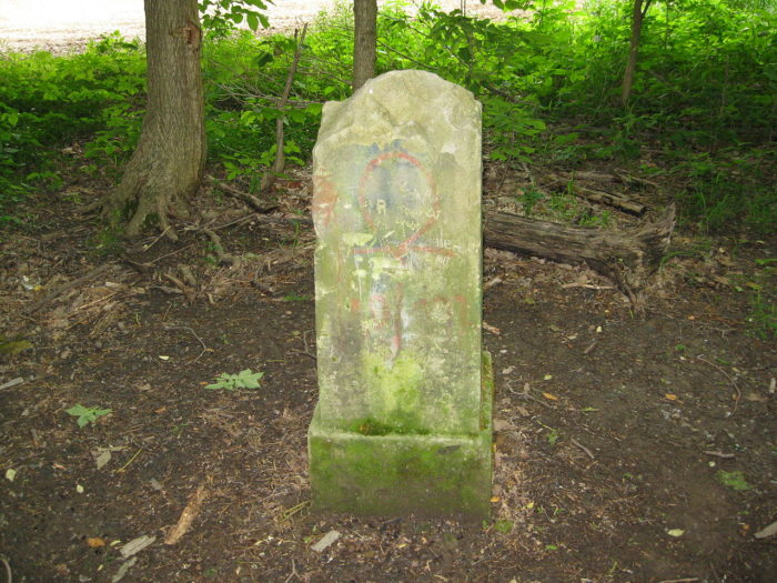 Pictured is what is supposedly the driveway marker of the former mansion. Brave explorers have reported distant screams of children in the area, as well as children's hand prints mysteriously appearing on their cars.