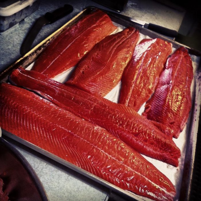 The brilliant red salmon fillets that come after catching sockeyes in salt is truly decadent.