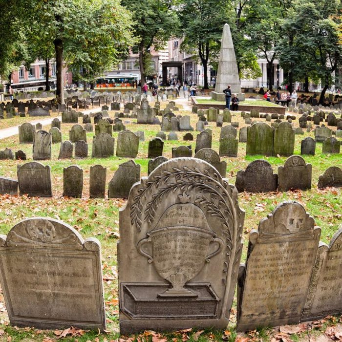 A visit to King's Chapel Burying Ground will let you peer into an actual charnel house that holds the jumbled bones of hundreds of people. Your stop at the Omni Parker House will yield plenty of creepy stories about the ghosts that roam the halls of this luxurious and iconic Boston hotel.
