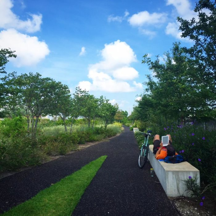 There are numerous bike lanes and paths throughout the park for joggers and bikers to enjoy.
