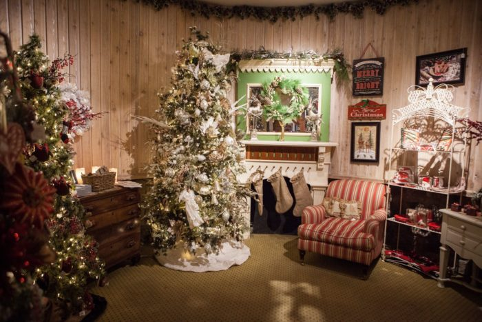"""Relax in the cozy """"Colorado Christmas"""" room where it's Christmas all year long.  You can also select beautiful ornaments and other festive decorations to take home with you."""