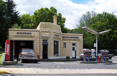 Gas up your car and, even if you don't need gas, make a pit stop at Dunkle's Golf Services simply for the experience. The deco art gas station, one of the few remaining today, makes the perfect backdrop for selfies and artistic shots.