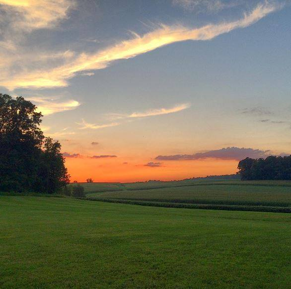 The sunset glistens here year-round, ending a perfect evening at the farm.