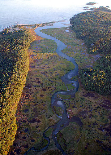 This is an aerial view of the Little River that empties into Sheepscot Bay at Half Mile Beach in Reid State Park.