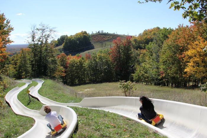 One of the resort's biggest attractions is its Alpine Slide, which allows riders of all ages to zoom down 1,700 feet of winding mountainside tracks.