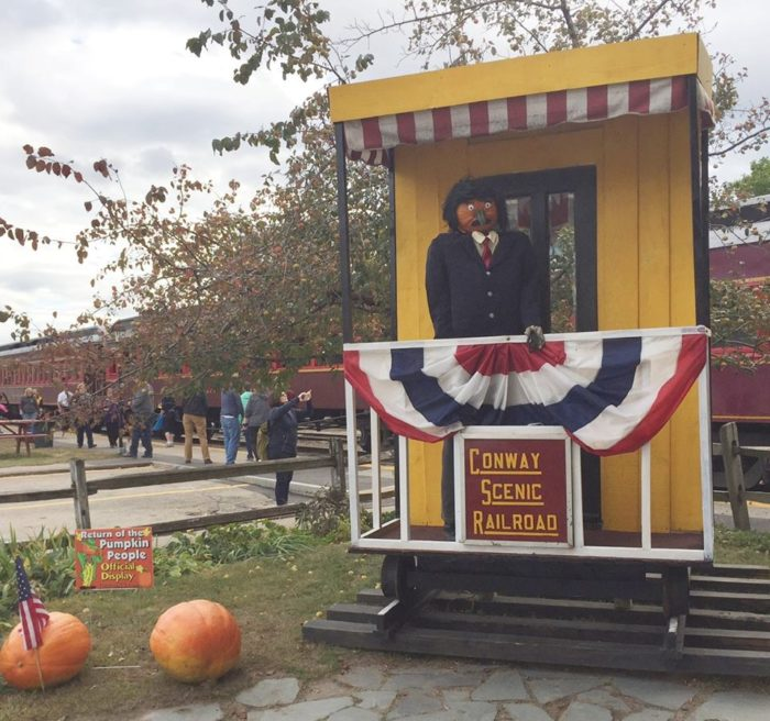 At the North Conway depot you can collect your tickets, or just visit the pumpkin people, climbing aboard.