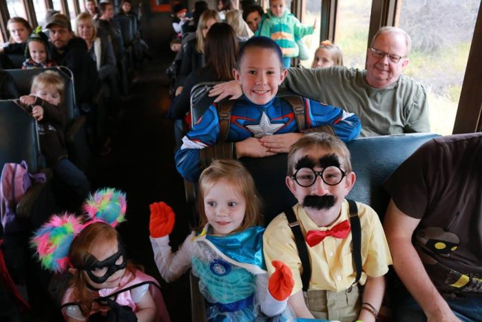 Get some extra mileage out of your Halloween costume and wear it on your Pumpkin Train journey.