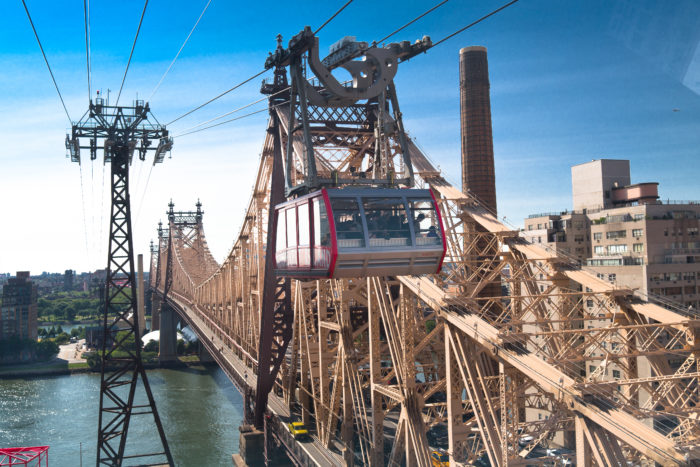 Taking passengers right over the East River, the tram runs parallel with the Queensboro Bridge.
