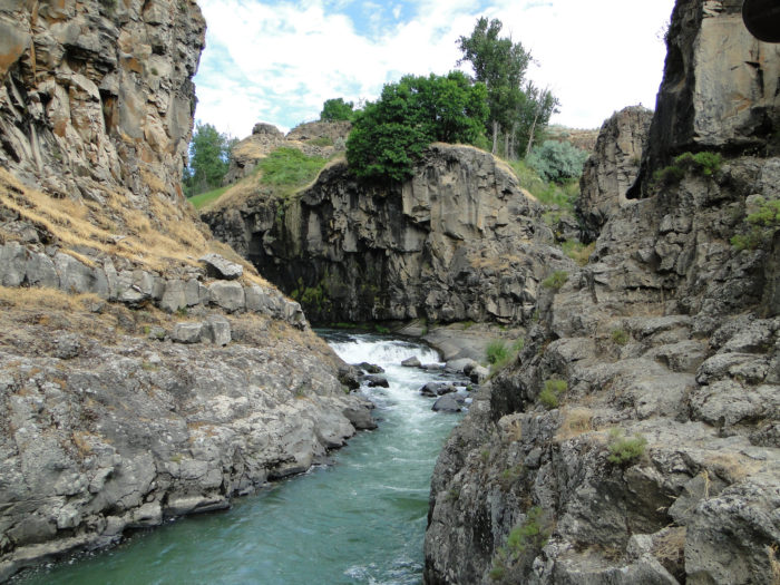 The White River winds through the landscape in a canyon chiseled away by years of flowing water.