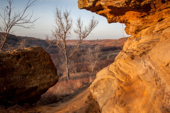 Nestled within Kanopolis State Park, Horsethief Canyon is a truly unique Kansas attraction that is complete with several caves and crevices that you would expect to find in any canyon.