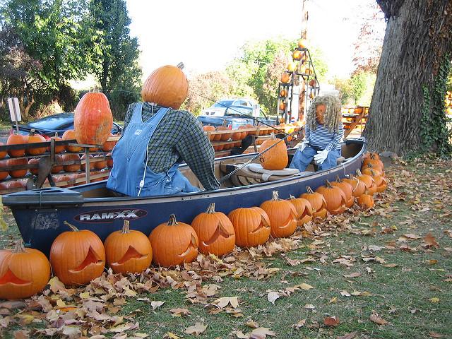 You'll find whimsical pumpkin scenes around the yard.