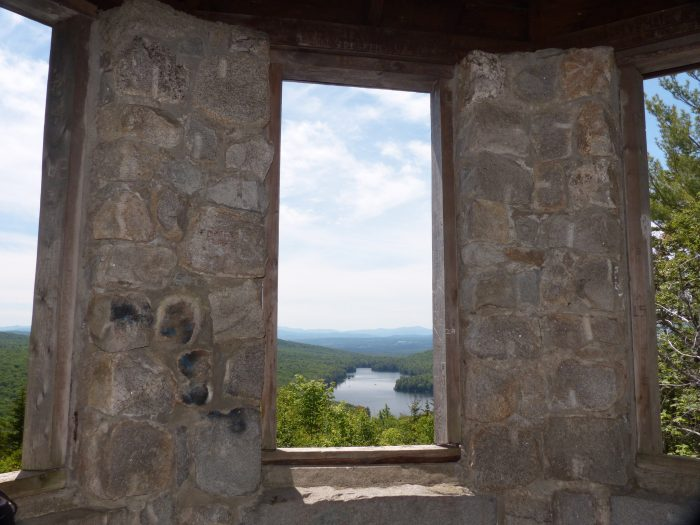 Halfway up the trail, you'll see the octagonal stone fire tower.
