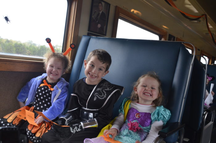 All passengers are encouraged to dress in costume. And all adults that dress up, receive a $2 discount on their ticket price.