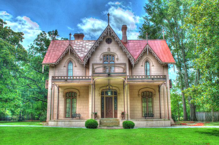 The Gothic-style villa was extremely unique because, at the time, Greek-revival architecture was particularly popular.