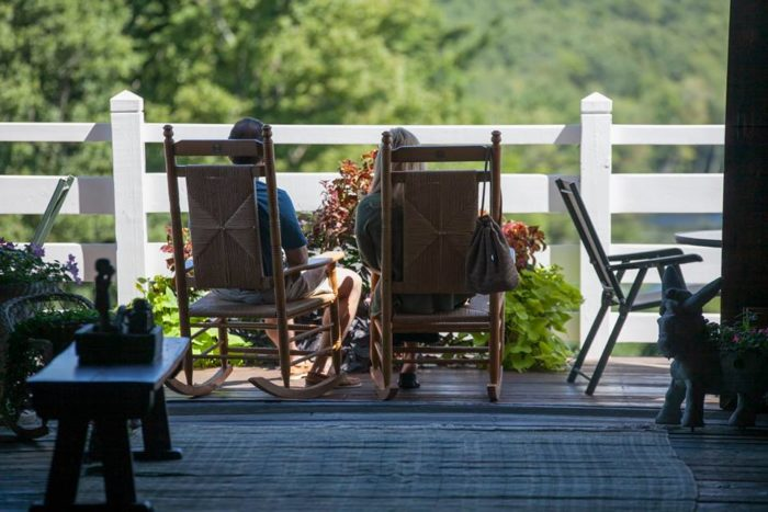 Take some time to linger on the deck too. Lounge chairs are provided for those seeking a relaxing pond-side experience. You can watch the sheep and cows graze as you rock peacefully.