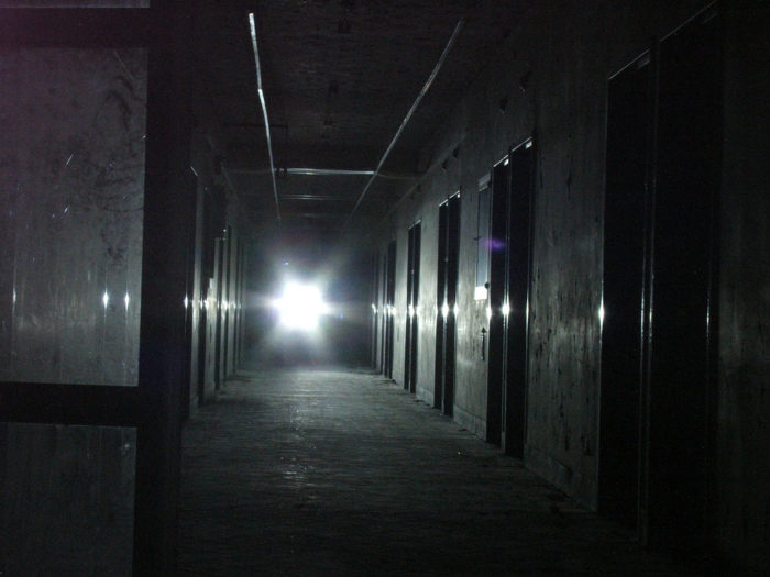 7. The hallway of this abandoned hospital hiding in rural Arkansas . . .