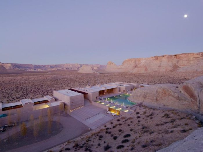 Amangiri Resort is located on 600 acres and offers stunning views of the Grand Staircase-Escalante National Monument. The address is 1 Kayenta Road, Canyon Point in Utah.