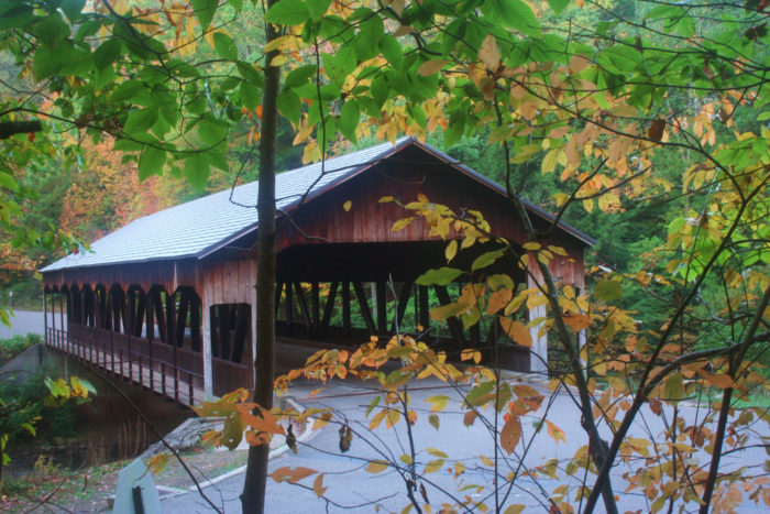 The covered bridge within the park extends over the Mohican River. It's a popular sight for locals and visitors alike (and makes for a great photo.)