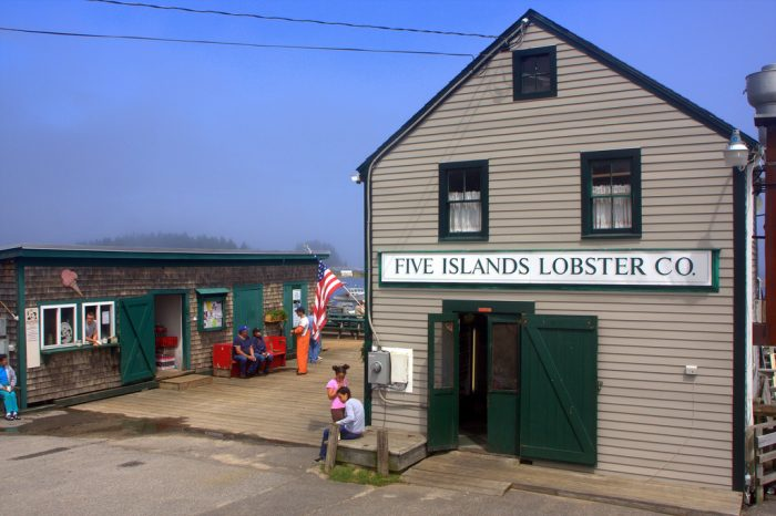 "This spot is also home to the famous ""Five Island Lobster Company."""