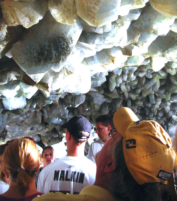 The cave is made up of celestite crystals ranging anywhere from  8 to 18 inches long.  As you walk through it, you'll feel like you've entered another world.