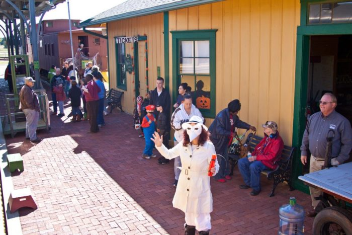 The train departs from the Oakwood Depot at the museum.