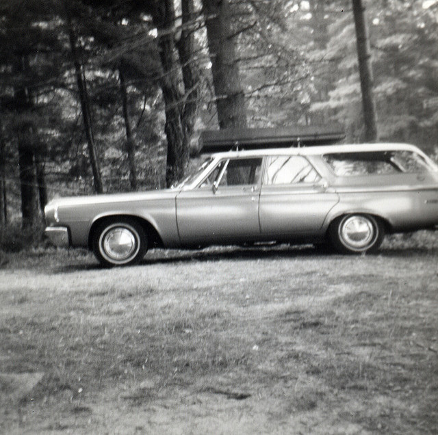 5. Loading up the station wagon for a trip to Ayer's Lake in Barrington.