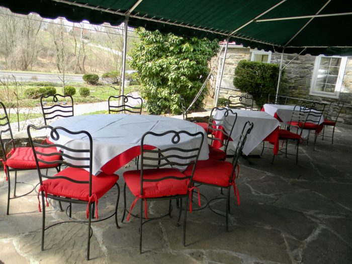 This scenic restaurant is worth visiting year-round, but the warmer months offer opportunities to sit on the patio.