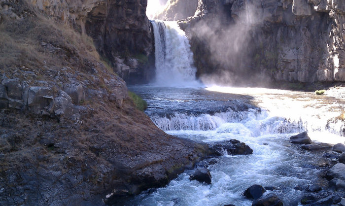 White River Falls State Park is located just off of Sherars Bridge Highway 216 in Maupin. The waterfall is located at the end of a short, marked trail beginning at the parking area.