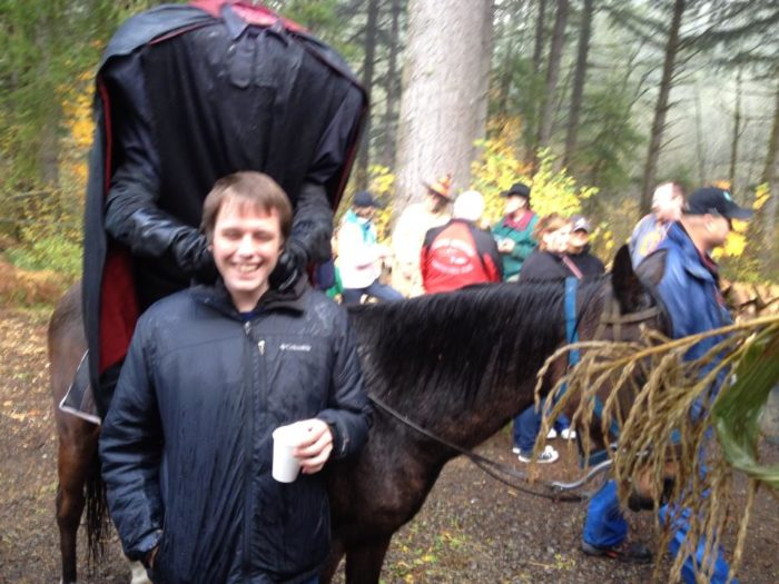 … because a headless horseman standing behind you is just as scary.