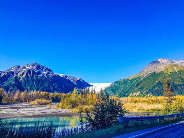 A local favorite is the Exit Glacier Trail located off Exit Glacier Road. Gorgeous views of fall foliage against the massive beaming blue glacier = mind blowing!