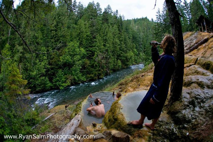 The hot spring is clothing optional, so feel free to let it all hang out (and be prepared to see others doing the same).