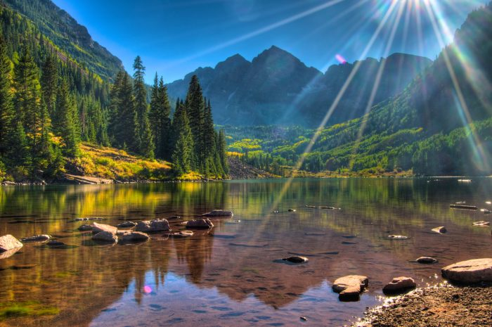 Considered to be the most photographed landscapes in all of Colorado, the Maroon Bells-Snowmass Wilderness looks too beautiful to be real.