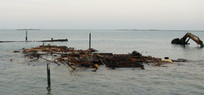 It finally collapsed in 2010. While this particular strip of land is now underwater, other areas of the island remain.