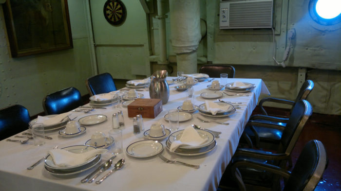The ship was decommissioned in 1948 and eventually made into a museum for history buffs and wide-eyed children alike to visit. This is the dining room where the sailors ate their meals.