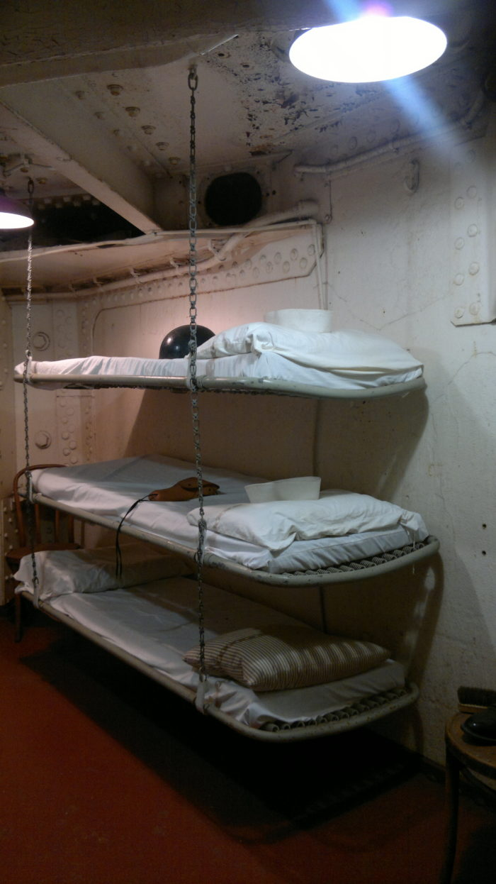 This is the sleeping quarters...doesn't look too comfy, does it?