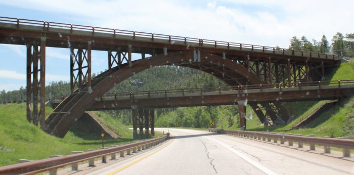 6. This bridge over a bridge over a road, near Keystone.