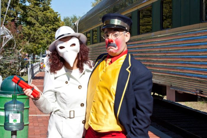 While waiting to board the train, guests will be greeted by costumed characters and Halloween decorations...but nothing too spooky.