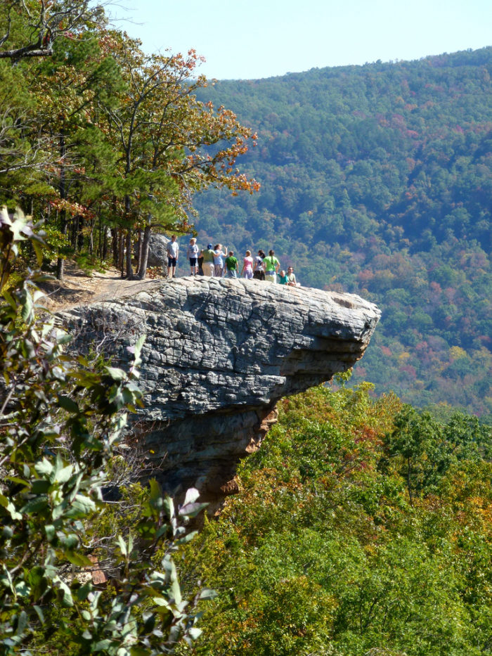 Whitaker's Point, tucked away in the Ozarks, is one of the most iconic spots in Arkansas. Due to its unique shape, this rock overlooking scenic Buffalo River country is also called Hawksbill Crag.