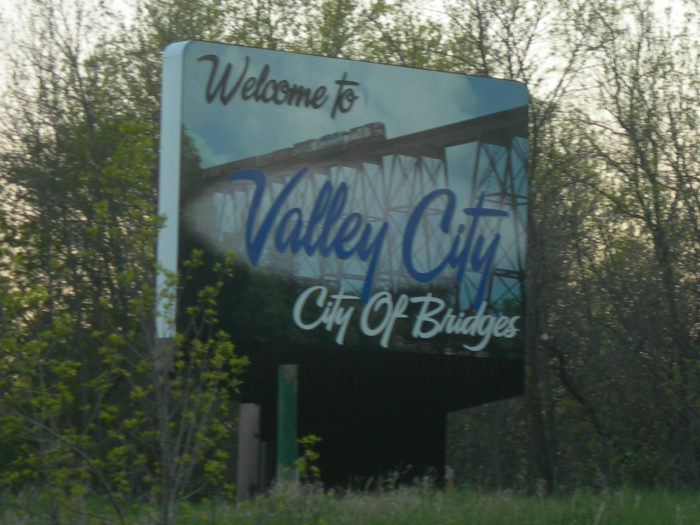 Valley City welcomes you with their claim to fame - the City of Bridges