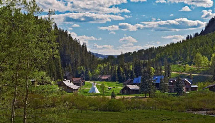 """If you look up the word """"luxury"""" in the dictionary, you are sure to find the definition accompanied by this picture of Dunton Hot Springs; a """"glamping"""" resort set amidst the historic ghost town of Dunton."""