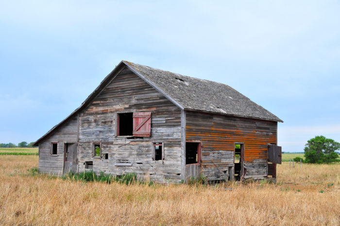 Farms, homes, and sheds are slowly returning back to nature, but they linger on out in the prairie.