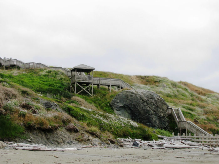 When the tide is low, walk down this lovely staircase to the beach.