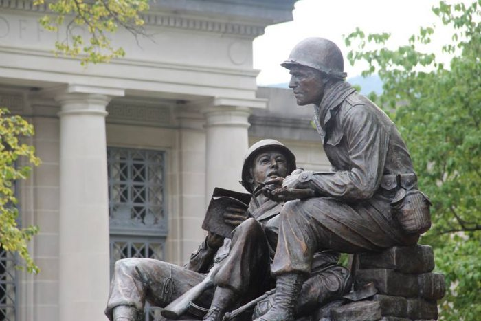 Be sure to stop at perhaps the most poignant spot in Bedford. The World War II Monument, honoring the Greatest Generation, is located at Penn and Juliana Streets. Around the memorial sits an honor walk, with the names of those who served in World War II etched in each brick.