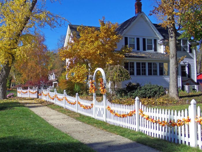 Walk around homes, many of which are decorated for Halloween.