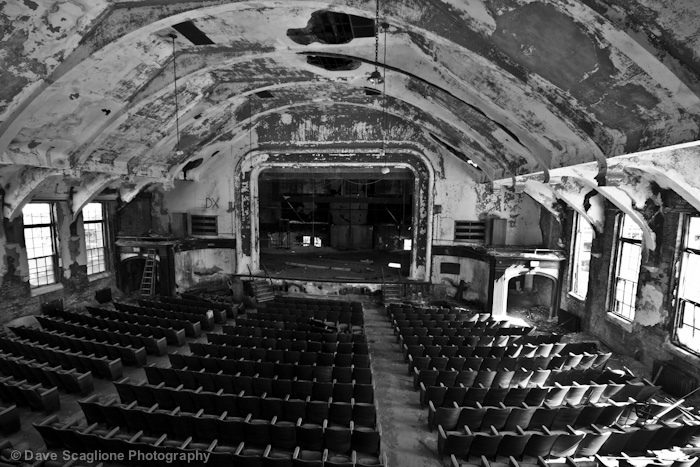 Hidden within the buildings are a collection of typewriters collecting dust, two bowling alleys, and three theaters. Sadly, these facilities were not enough to keep the buildings in use, even for recreational purposes, and the buildings were left to rot.