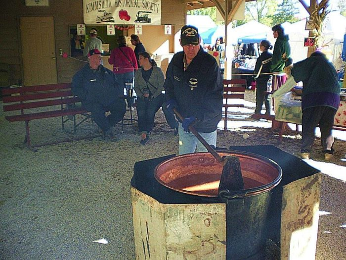 Not only can you purchase fresh homemade apple butter, but you can also see how it's made! The Kimmswick Historical Society churns apple butter under the pavilion both days of the festival.