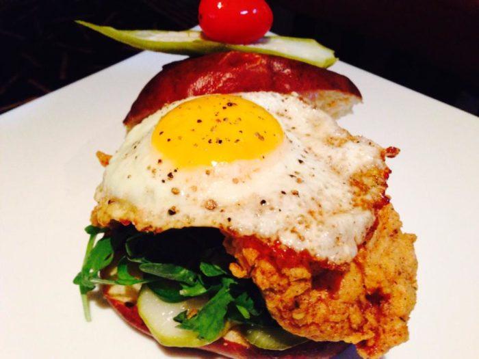 3. Fried Chicken & Egg on Pretzel Roll