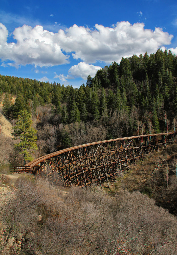 The bridge, which is 323 feet across, is on the National Register of Historic Places. The Alamogordo & Sacramento Mountain Railroad once ran through Cloudcroft and trains would cross this bridge. For more info.