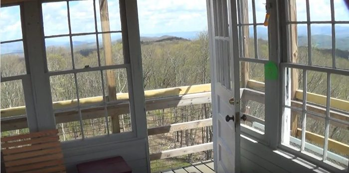The windows provide a 360 degree view of the surrounding mountains.